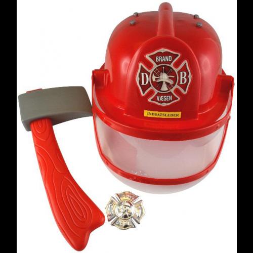 Brandmandssæt m. Hjelm, økse og Skilt