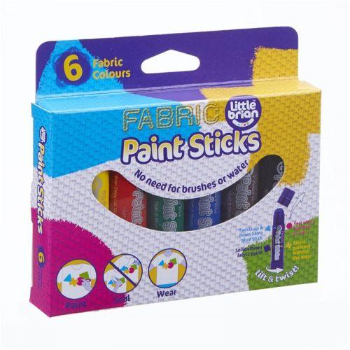Little Brian Paint Sticks - tusser til lærred, træ, papir og tøj - 6 stk