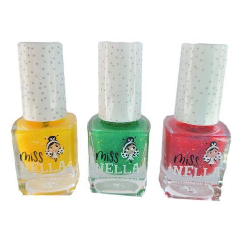 Miss Nella Neglelak - 3 stk. - Grøn, Gul og lyserød med glimmer