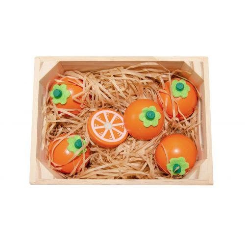 Magni Appelsiner m. magnet 5 stk. i trækasse - legemad i træ