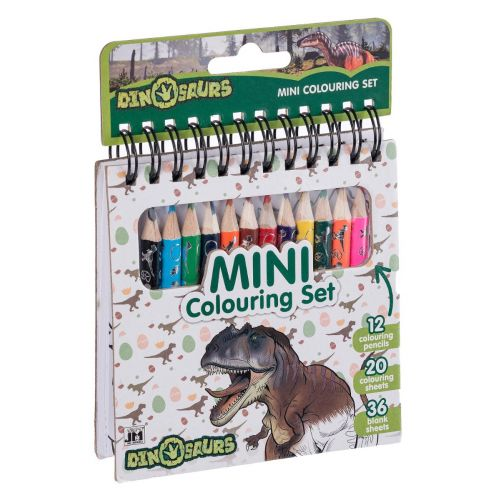 Dinosaur Mini Malebog 56 sider m. 12 farveblyanter