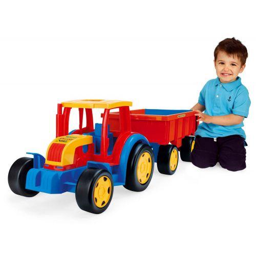 Wader Kæmpe traktor med anhænger/trækvogn - L. 1 meter.