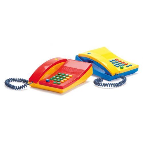 Dantoy gammeldags telefon med trykknap - Gul/blå