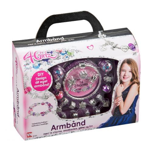 4-Girlz Armbånd m. 16 Charms