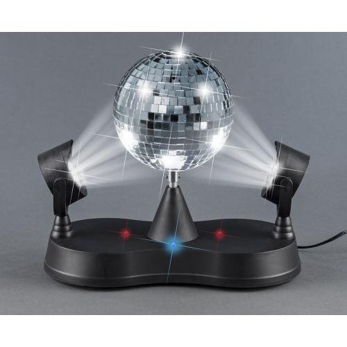 Sølvspejlkugle med 2 spots - LED Lys og adaptor