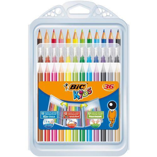 Bic Kids Sæt - 12 Tusser, 12 Farveblyanter og 12 farvekridt