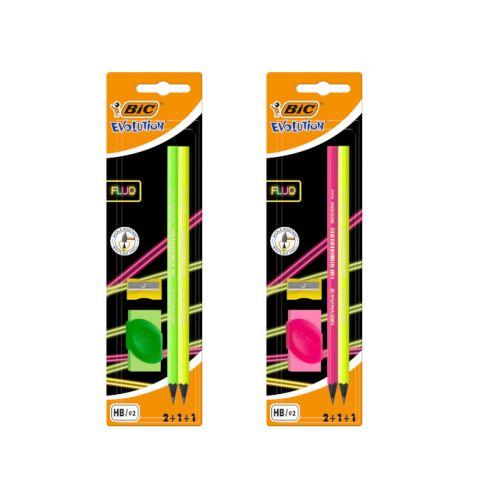 Bic Kids Evolution Fluo  -2  selvlysende blyanter, viskelæder og blyantspidser