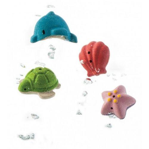 PlanToys Badesæt med 4 havdyr