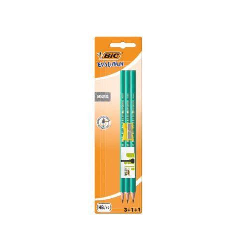 Bic Kids Evolution - 3 Blyanter, viskelæder og blyantspidser