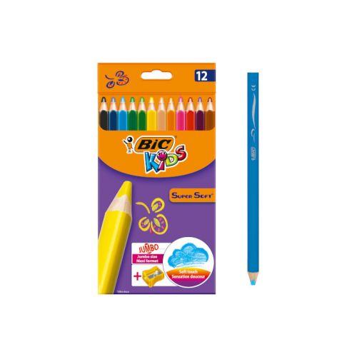 Bic Kids Super Soft - 12 Jumbo farveblyanter og Blyantspidser