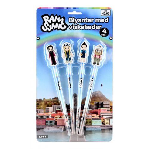 DR Ramasjang Pakke med 4 blyanter og viskelæder