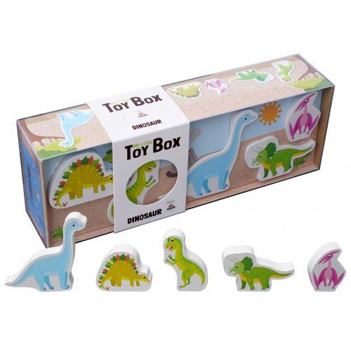 Min lille box med Dinosaur m. 5 Træ Dinosaur
