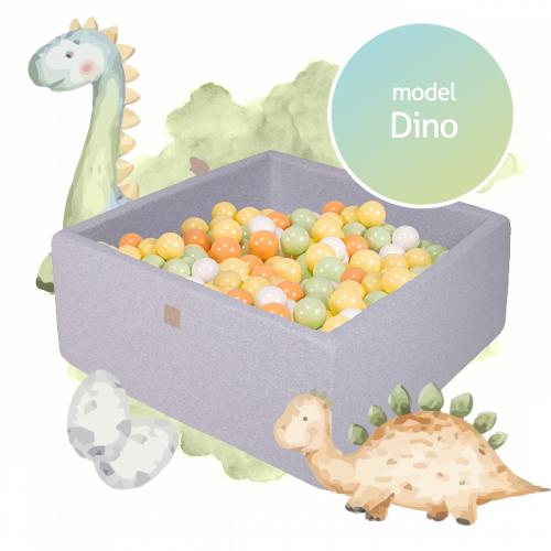 Meow Boldbassin Dino med 300 bolde 110x110x40 - Lys grå