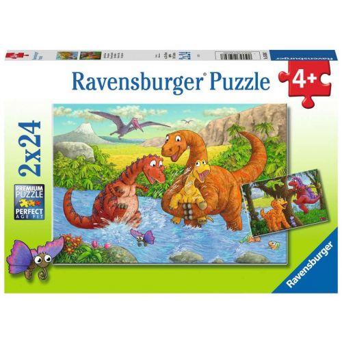 Dinosaurs at play Puslespil - 2 x 24 brikker - Ravensburger