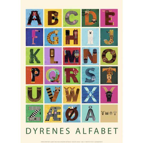 Dyrenes alfabet-plakat - 50 x 70 cm