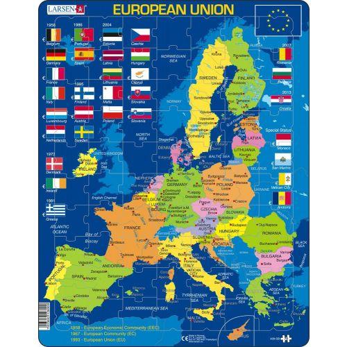 Larsen puslespil - EU Europa Engelsk - 70 brikker