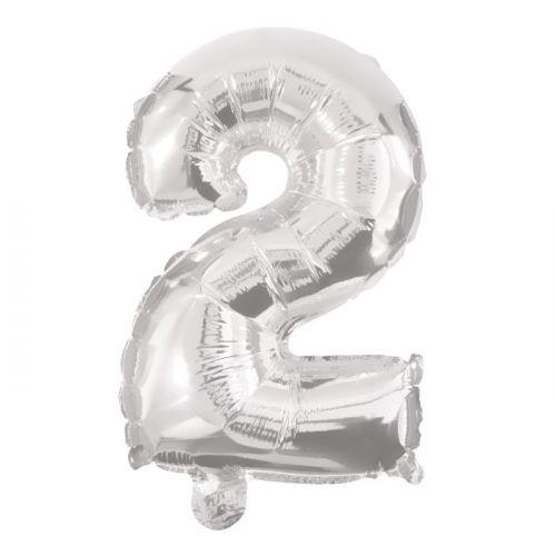Folie Ballon sølv - nr. 2 - str. 31-33 cm