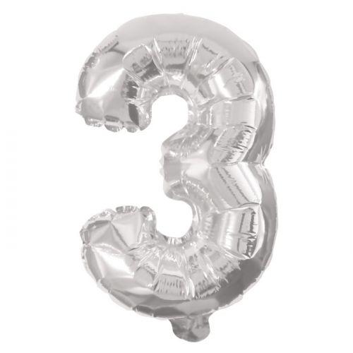 Folie Ballon sølv - nr. 3 - str. 31-33 cm