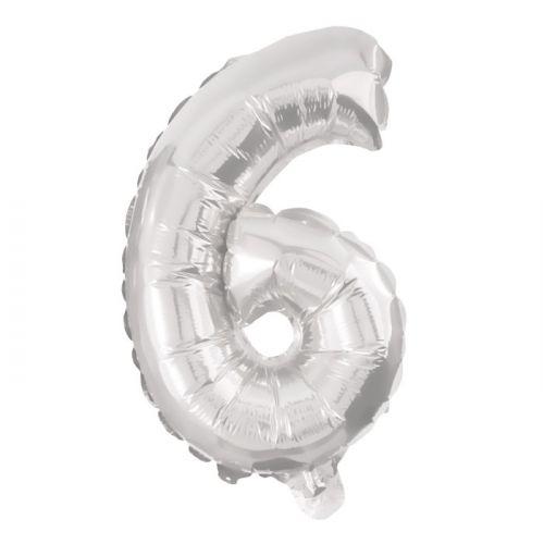 Folie Ballon sølv - nr. 6 - str. 31-33 cm