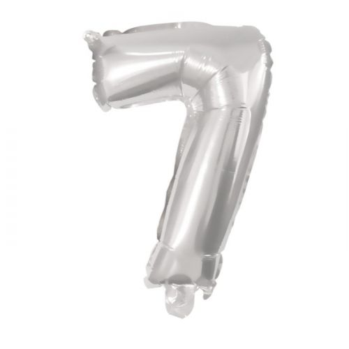 Folie Ballon sølv - nr. 7 - str. 31-33 cm
