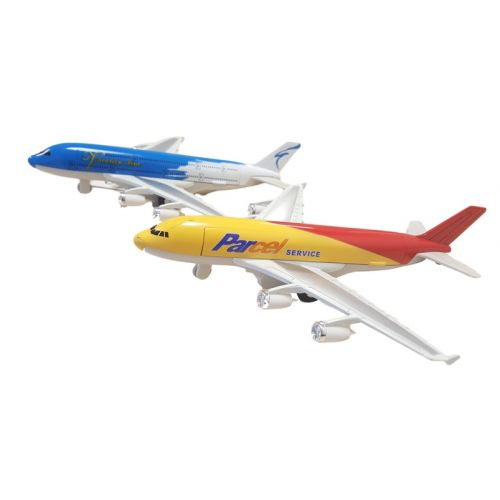 Flyvemaskine 19 cm lang m. pull back effekt - assorterede farver