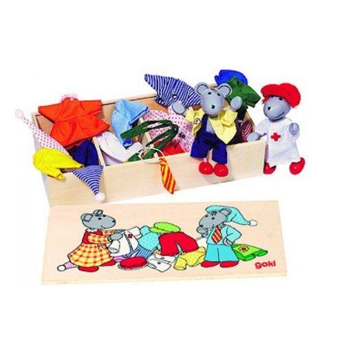 Goki Påklædningsdukker - mus i træ med 8 sæt tøj