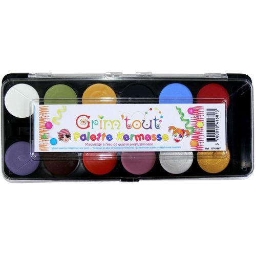 Ansigtsmaling - Palette med 12 forskellige farver