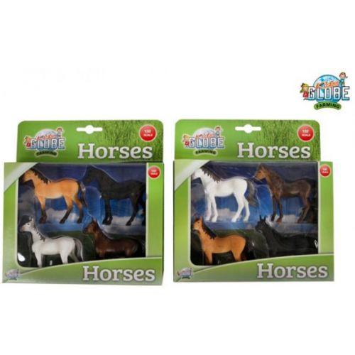 Kids Globe Pakke med 4 Heste (1:32) - Assorterede