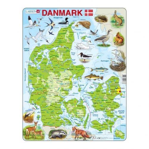 Larsen puslespil - Danmarkskort - 66 brikker