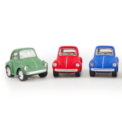 Lille Pull Back metal bil, VW bobbel - Assorterede farver