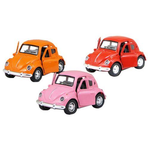 Pull Back metal bil, VW bobbel - Assorterede farver