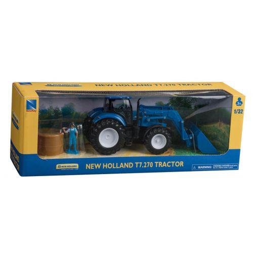 New Holland T7.270 Traktor sæt m. Frontlæsser, mand og halmballe