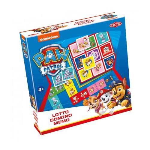 3-i-1 Paw Patrol spil - Lotto, Domino og Memo
