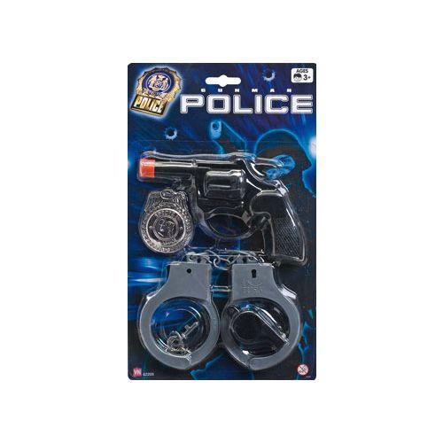 Politisæt m. pistol og håndjern