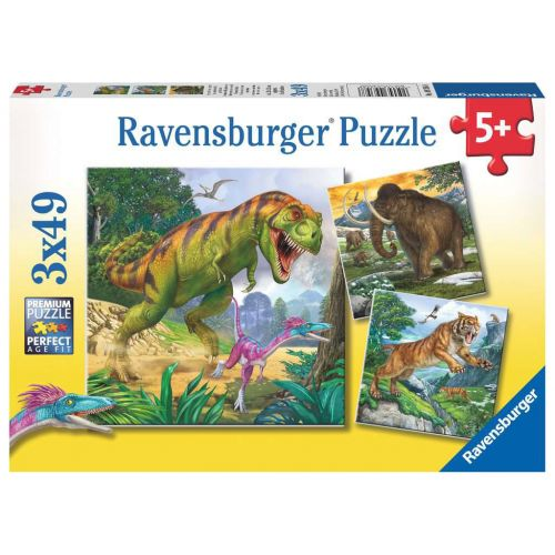 Primeval Ruler Dinosaur puslespil 3 x 49 brikker - Ravensburger
