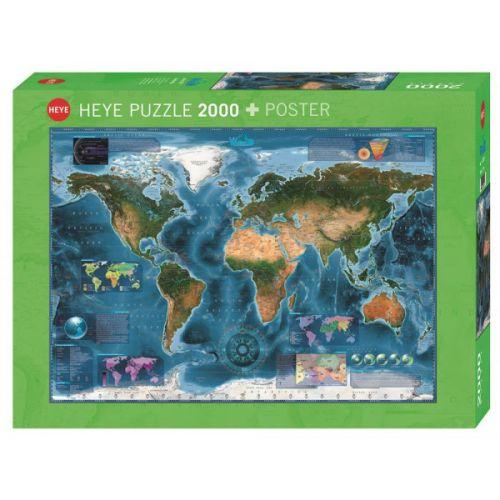Heye Puslespil - Satellite Map - 2000 brikker