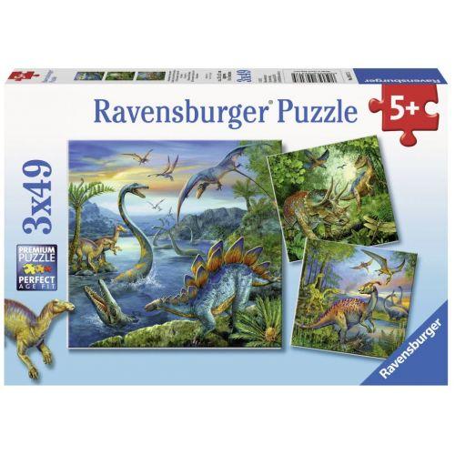 Dinosaur Fascination puslespil 3 x 49 brikker - Ravensburger