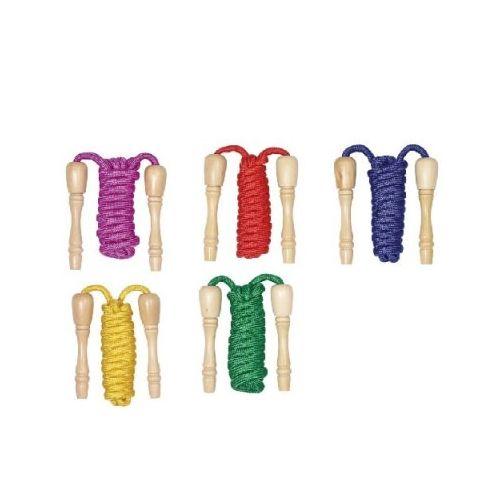 Goki Sjippetov med træhåndtag - 230 cm - farvet