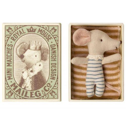 Maileg Baby mus - Sleepy/wakey i tændstikæske - dreng