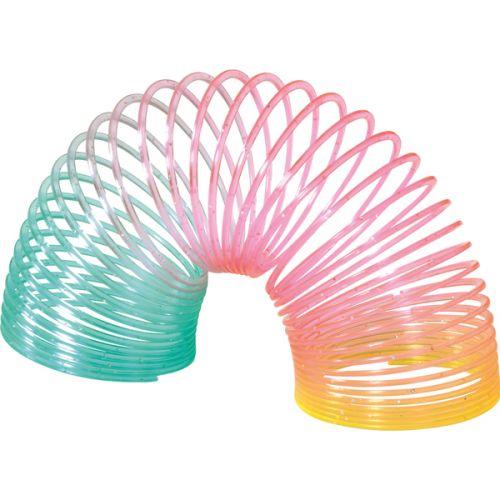 Slinky fjeder m. glimmer - plast Ø 5 cm