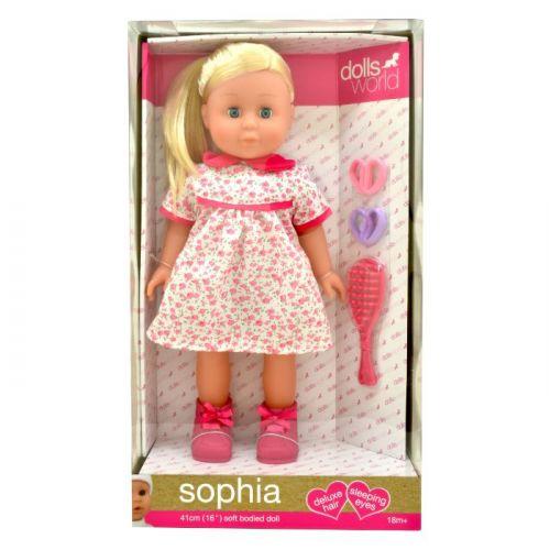 Sophia lyst hår 41 cm m. børste og elastikker
