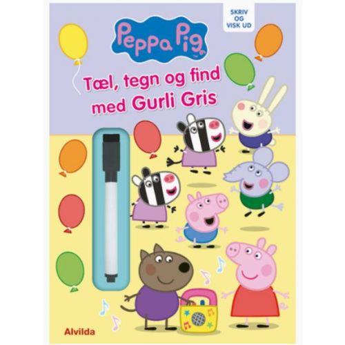 Peppa Pig - Gurli Gris - Skriv og visk ud - Tæl, tegn og find med Gurli Gris