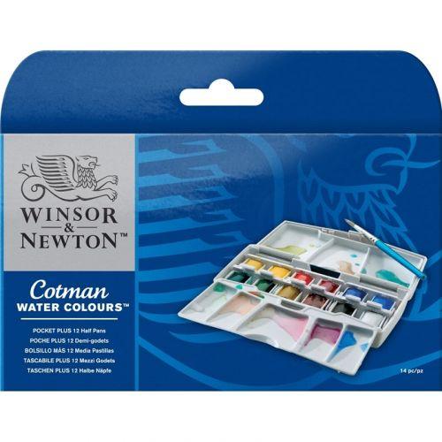 Winsor & Newton Pocketbox Plus, Akvarelmaling - 12 farver