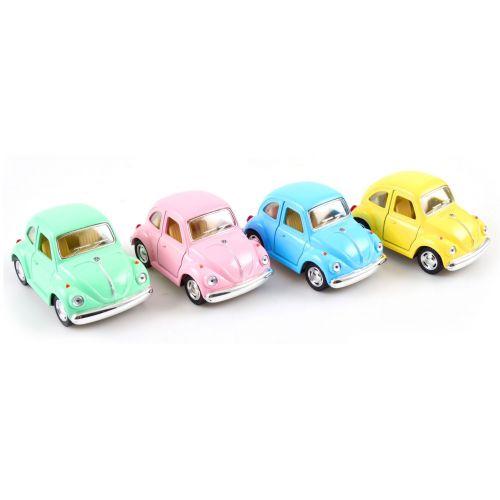 VW Folkevogn bobbel m. Pull back - 4 Assorterede farver